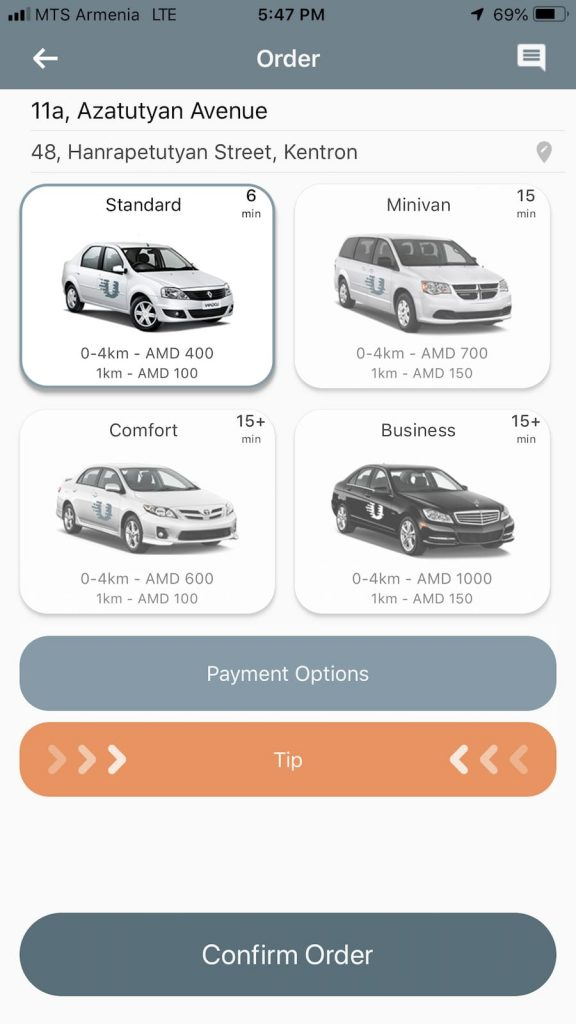 Taking an Armenian taxi with UTaxi