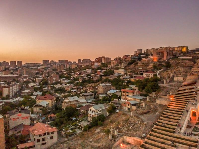 Armenian autumn guide: Drone shot from cascades