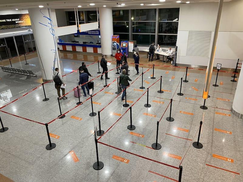 Armenia coronavirus testing at Zvartnots Airport in Yerevan in October 2020. COVID-19 testing Yerevan, Armenia
