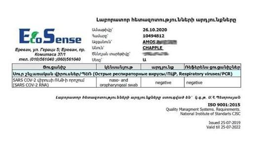 COVID 19 test results in Armenia