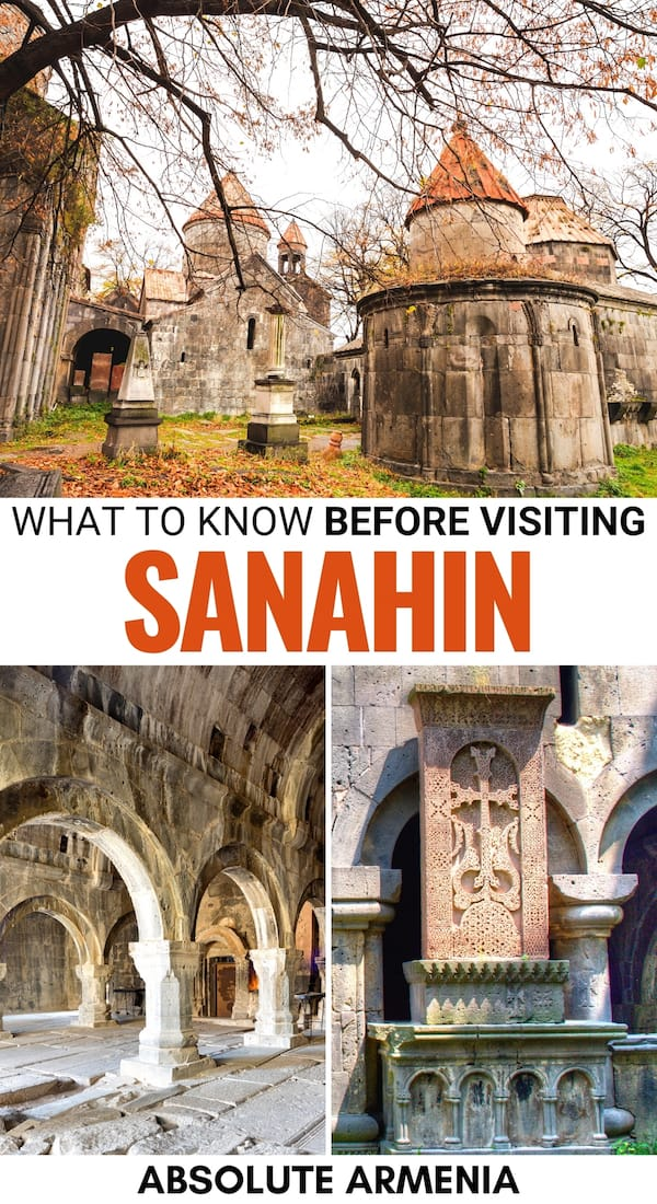 One of Armenia's most beautiful and historic monasteries is Sanahin Monastery. This is a guide about the history, how to visit Sanahin, and tips for your trip! | Sanahin and Haghpat | Armenian Monasteries | Places to visit in Armenia | Lori Armenia | Mikoyan Brothers | Sanahin village | Armenia photography | Armenian culture | Visit Armenia | Visit Sanahin | Day trips from Yerevan | Day Trips from Tbilisi | Tbilisi to Sanahin