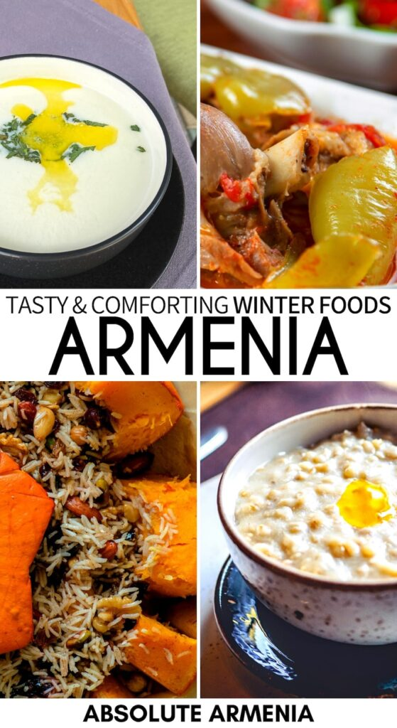 Traveling to Armenia in winter and looking to taste some of the best food? These Armenian dishes are tasty and hearty in winter and should all be tried! | Armenian food | Armenian cuisine | Armenia in winter | Khash | Spas | Lobakhash | Pochapur | Harissa | Khashlama | Ghapama | Food in Armenia | Caucasus food