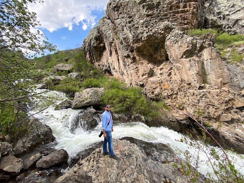Aram at Meghradzor Waterfall
