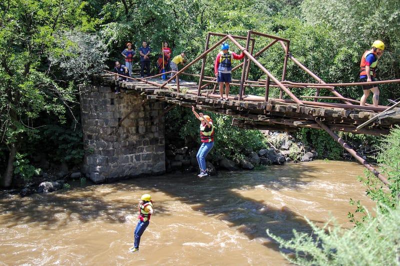 Bridge Jump during the Rafting in Armenia