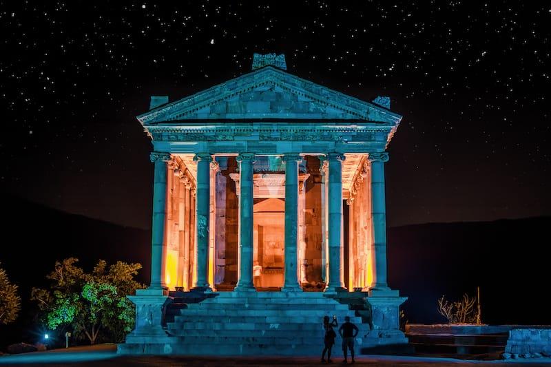 Garni Temple at night