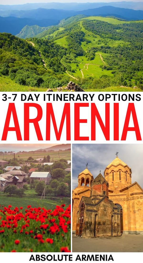 Are you looking for the perfect Armenia itinerary? This guide gives you two options - a cultural heritage itinerary for Armenia and a nature one - learn more! | Itinerary Armenia | 7 days in Armenia | Places to visit in Armenia | Things to do in Armenia | Where to go in Armenia | What to do in Armenia | Armenia 7 day itinerary | Week in Armenia | Armenia destinations | Yerevan day trips | Places to visit in the Caucasus | Things to do in Yerevan | Yerevan itinerary