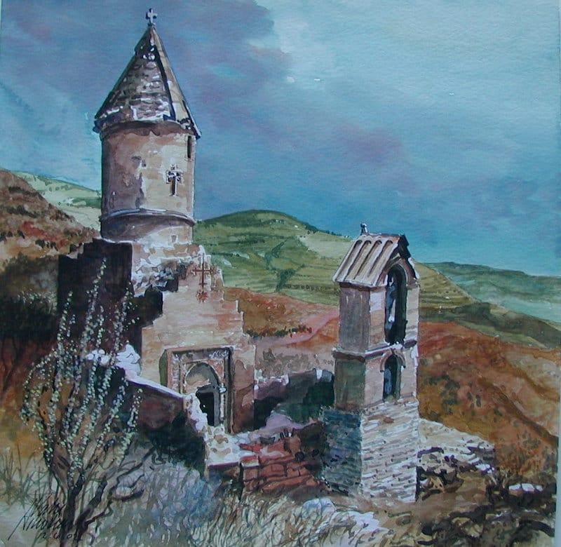 Vahe Ashodian 12x12 watercolor Spitakavor 2002